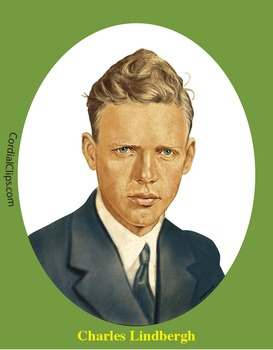Charles Lindbergh 3 Realistic Clip Art, Coloring Page, and Poster