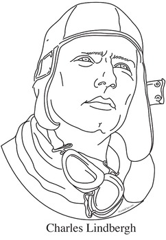 Charles Lindbergh Realistic Clip Art, Coloring Page, and Poster