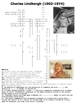 Charles Lindbergh Crossword and Word Search