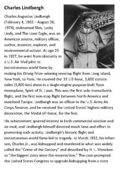 Charles Lindbergh Handout