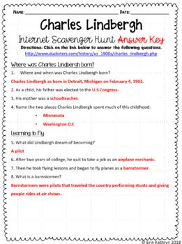 Charles Lindbergh Internet Scavenger Hunt WebQuest Activity