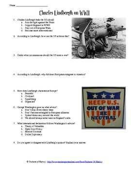 Charles Lindbergh US Isolationism and World War II Speech Worksheet