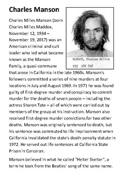 Charles Manson Handout