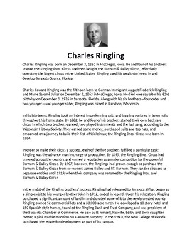 Charles Ringling Article Biography and Assignment