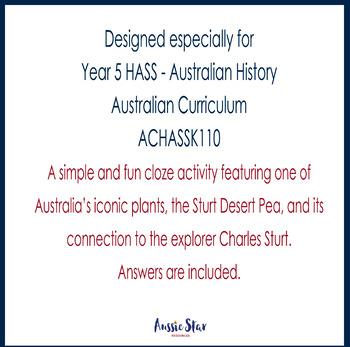 Australian Explorers - Charles Sturt – Sturt Desert Pea Cloze activity