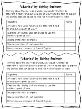 essay questions charles shirley jackson From what point of view is charles told and who is the narrator.
