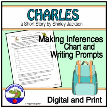 """""""Charles"""" by Shirley Jackson Making Inferences Chart"""