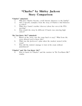 Charles By Shirley Jackson Story Comparison Preparing For