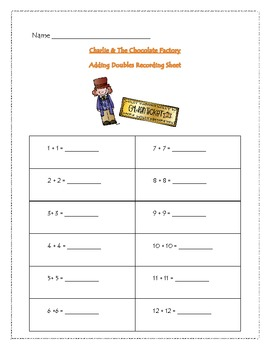 Charlie And The Chocolate Factory Adding Doubles Matching  Game