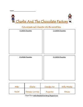 Charlie And The Chocolate Factory Syllable Sort
