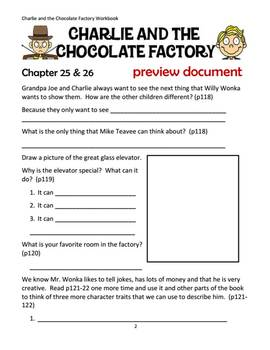 Printable Chapter by Chapter Book Unit for Charlie And the Chocolate Factory