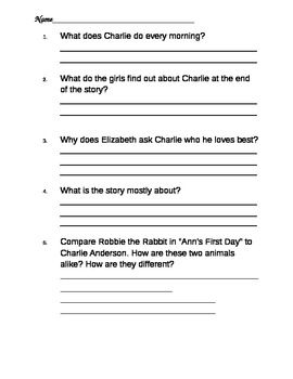 Charlie Anderson Comprehension Questions