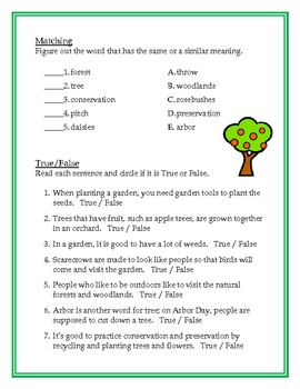 Charlie Brown Arbor Day ESL Vocabulary Building Lesson