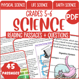 Distance Learning Science Reading Comprehension Passages & Questions |Grade 5-6