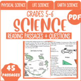 Science Reading Comprehension Passages & Questions Grade 5-6 (PDF)