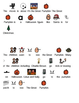 Charlie Brown - Great Pumpkin picture supported text lesson review visuals