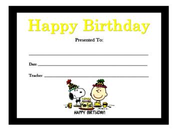 Charlie Brown/Peanuts Birthday Certificates (Include 20 Birthday Certificates)