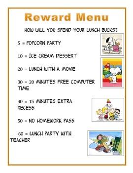Charlie Brown Reward Menu