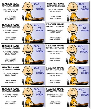Charlie Brown Teacher business cards Editable