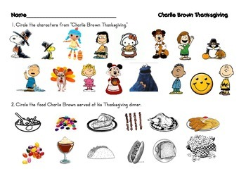 Charlie Brown Thanksgiving ELA