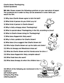 Charlie Brown Thanksgiving Guided Notes and Writing Assignment