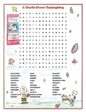 Charlie Brown Thanksgiving Activity Movie Word Search