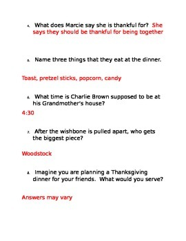 Charlie Brown Thanksgiving Movie Guide & Questions
