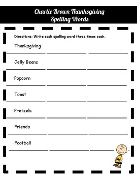 Charlie Brown Thanksgiving Spelling Words