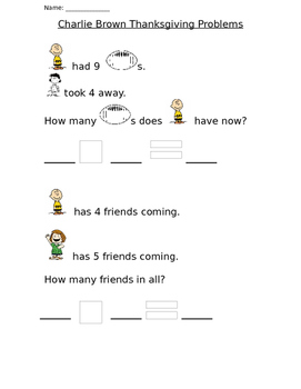 Charlie Brown Thanksgiving Word Problems