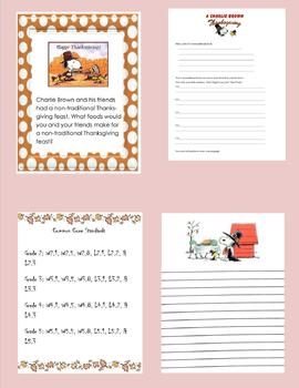 Charlie Brown Thanksgiving Writing
