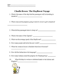 Charlie Brown The Mayflower Voyage Video Questions