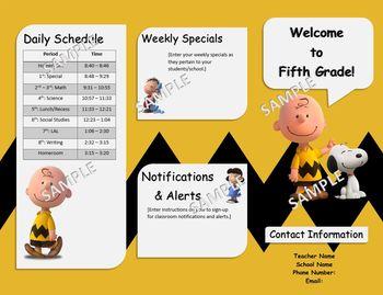 Peanuts Charlie Brown Theme Back to School Brochure