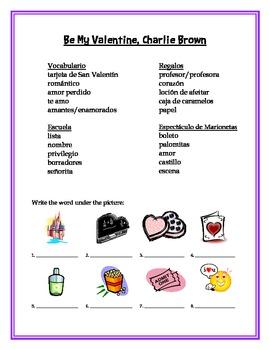 Charlie Brown Valentine's Spanish Vocabulary Building Lesson