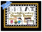 Charlie Brown and Peanuts Gang Certificates