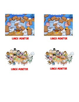 Peanuts Gang lunch monitor I.D.