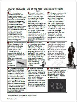 Charley Skedaddle Novel Study & Enrichment Project Menu