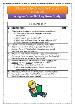Charlie & The Chocolate Factory ~ NEW HIGHER ORDER THINKING NOVEL STUDY!