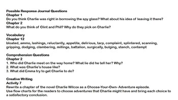 Charlie Wilcox Novel Study Guide
