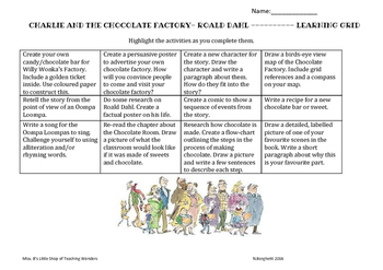 Charlie and Chocolate Factory Activity Grid