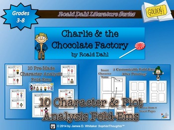 Charlie and the Chocloate Factory Roald Dahl Character & Plot Analysis Fold-Ems