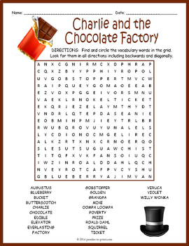 Charlie and the Chocolate Factory Word Search Puzzle by Puzzles to ...