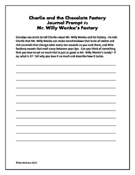 Charlie and the Chocolate Factory Assessments and Writing Prompts!