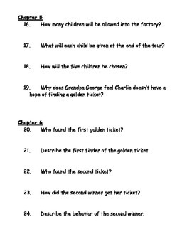 Charlie and the Chocolate Factory Book Unit - questions, projects, essay