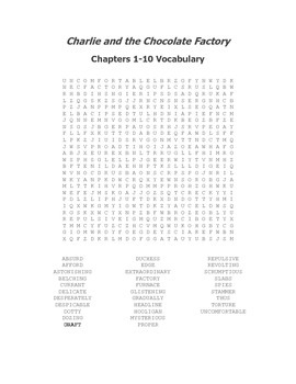 Charlie and the Chocolate Factory Ch. 1-10 Vocabulary Word Search