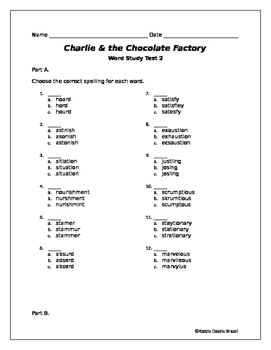 Charlie and the Chocolate Factory Chapters 1-8  Word Study Test