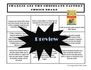 Charlie and the Chocolate Factory Choice Board Novel Study Activities Menu