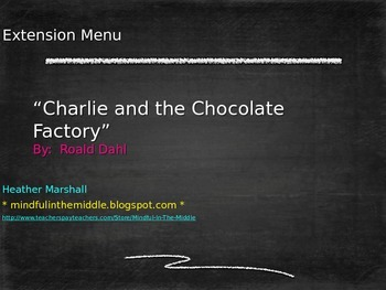 Charlie and the Chocolate Factory-Choice Menu