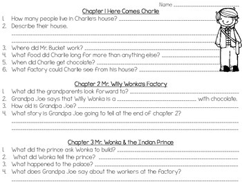 Charlie and the Chocolate Factory {Comprehension Questions}