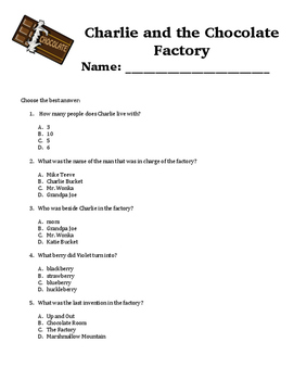 Charlie and the Chocolate Factory Comprehension Questions