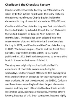 Charlie and the Chocolate Factory Handout